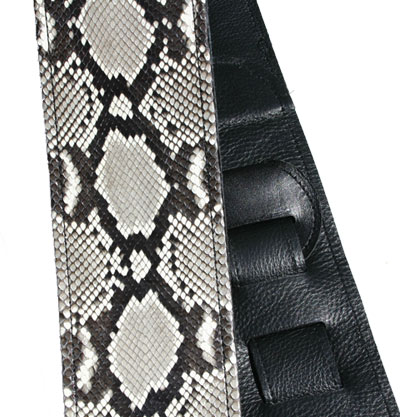 Black and white Python Skin Guitar Strap