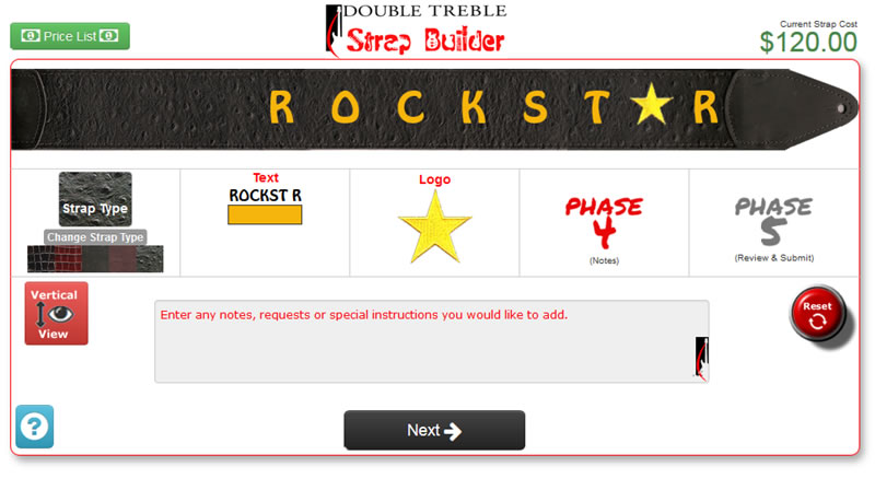 Here is a screenshot showing our spectacular guitar strap builder tool.  Now its easy to visualize your custom leather guitar strap before you buy.